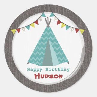 Turquoise Tipi Birthday Sticker