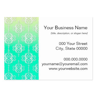 Turquoise to Yellow Damask Pattern Business Card Template