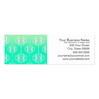 Turquoise to Yellow Damask Pattern Business Card Templates