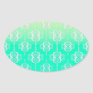 Turquoise to Yellow Damask Pattern Oval Sticker