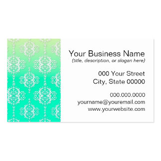 Turquoise to Yellow Damask Pattern Pack Of Standard Business Cards