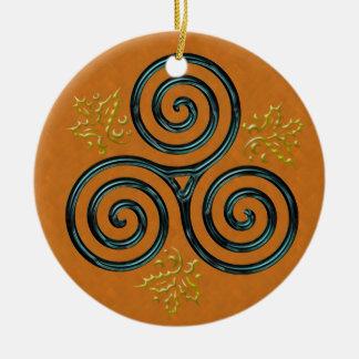 Turquoise Triple Spiral on Orange Round Ceramic Decoration