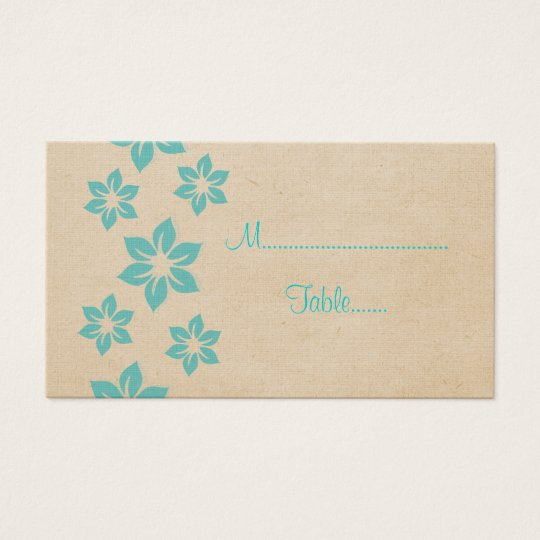 Turquoise Tropical Floral Place Card