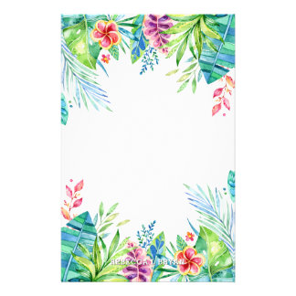 Turquoise Tropical Garden Foliage Stationery