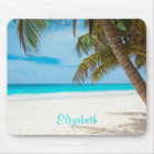 Turquoise Tropical Sandy Beach Personalised Mouse Mat
