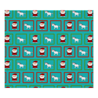 Turquoise unicorns santa claus pattern posters