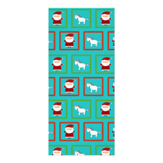 Turquoise unicorns santa claus pattern rack card design