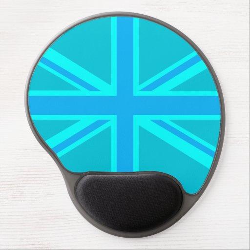 Turquoise Union Jack British Flag Customise it Gel Mouse Mat
