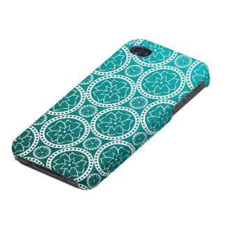 Turquoise Victorian Damask iPhone 4 Covers