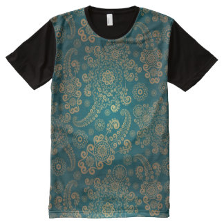 Turquoise Vintage All-Over Print T-Shirt