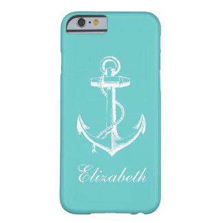 Turquoise Vintage Anchor Custom Monogram Barely There iPhone 6 Case