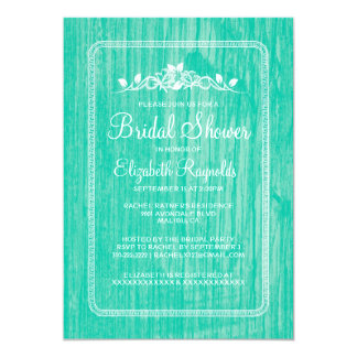 Turquoise Vintage Barn Wood Bridal Shower Invites Announcement