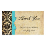 Turquoise Vintage Bow Damask Thank You Cards Business Card Templates
