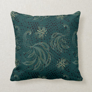 Turquoise vintage butterfly and peacock cushion