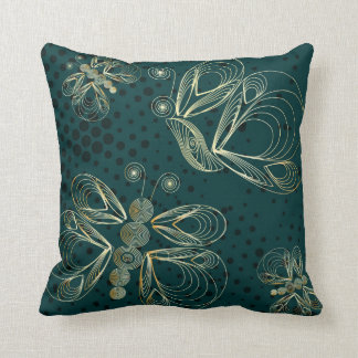 Turquoise vintage butterfly seamless pattern cushion