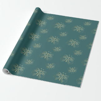 Turquoise vintage butterfly seamless pattern wrapping paper