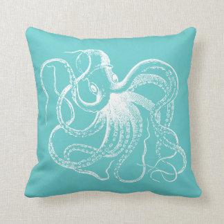 Turquoise Vintage Octopus & Nautical Stripes Cushion