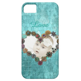 Turquoise Vintage Personalized Picture Phone iPhone 5 Case