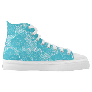 Turquoise Vintage Rustic White Lace Pink High Tops