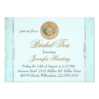 Turquoise Vintage Shabby Bridal Tea Party 11 Cm X 16 Cm Invitation Card