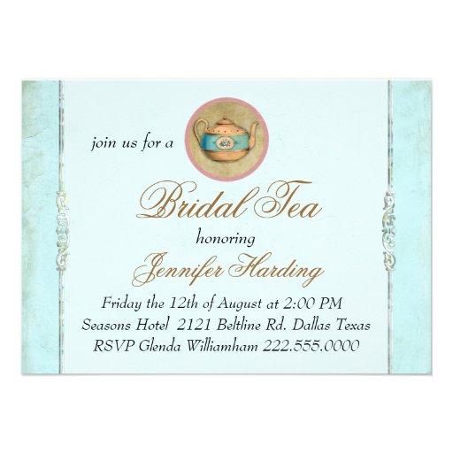 Turquoise Vintage Shabby Bridal Tea Party Invitations