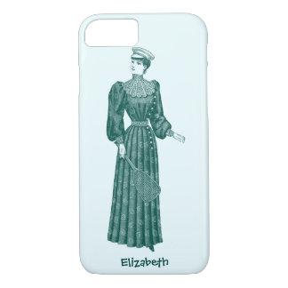 Turquoise Vintage Tennis Lady Toilet Phone Case