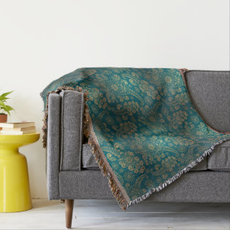 Turquoise Vintage Throw Blanket
