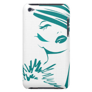 Turquoise Vintage Woman Face Barely There iPod Case