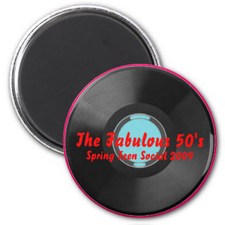 Turquoise, vinyl-record1, The Fabulous 50's, Sp... 6 Cm Round Magnet