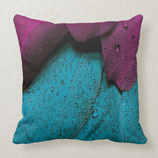 Turquoise Violet Feather Cushion