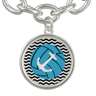 Turquoise Volleyball & Anchor Charm Bracelet