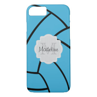 Turquoise Volleyball Monogram iPhone Case