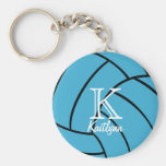 Turquoise Volleyball Monogram Keychain