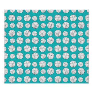 Turquoise volleyballs pattern poster