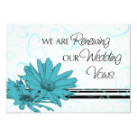 Turquoise Vow Renewal Ceremony Invitation Card