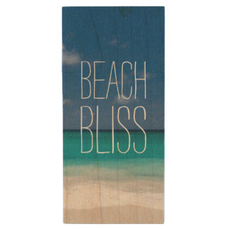 Turquoise Water Beach Bliss Wood USB 2.0 Flash Drive