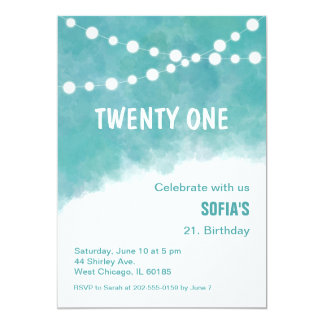 Turquoise Watercolor Birthday Invitation