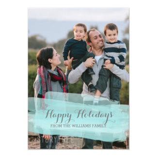 Turquoise Watercolor Brushstroke Photo Card 13 Cm X 18 Cm Invitation Card