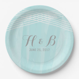 Turquoise Watercolor Deco Wedding 9 Inch Paper Plate
