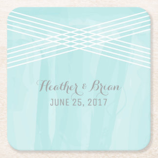 Turquoise Watercolor Deco Wedding Square Paper Coaster