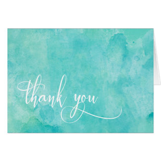 Turquoise Watercolor Elegant Typography Thank You Card
