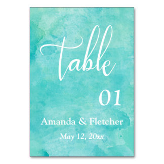 Turquoise Watercolor Elegant Wedding Table Number Table Cards