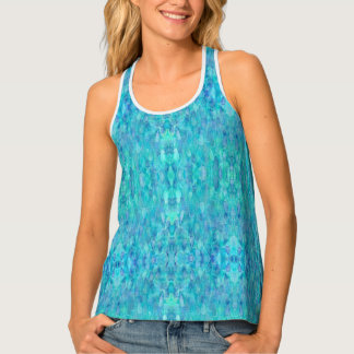Turquoise Watercolor Kaleidoscope Tank Top
