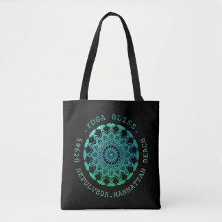 Turquoise Watercolor Mandala Yoga Business Tote Bag