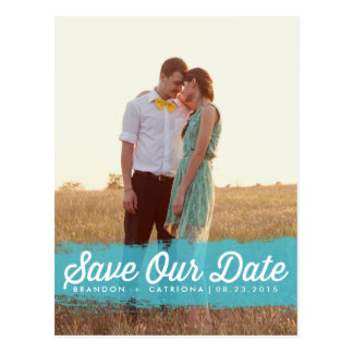 TURQUOISE WATERCOLOR | SAVE THE DATE POSTCARD