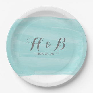 Turquoise Watercolor Wedding Paper Plates