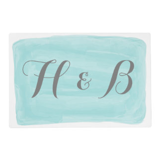 Turquoise Watercolor Wedding Placemat Laminated Placemat