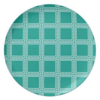 Turquoise Waters and White Polka Dot Tiles Plate