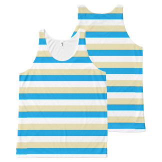 Turquoise, White and Beige Stripes All-Over Print Tank Top