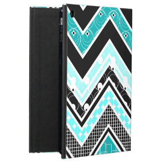 Turquoise, White and black Chevron pattern Cover For iPad Air